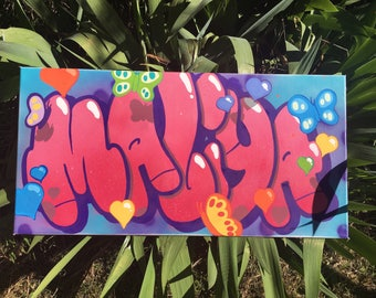 canvas painting graffiti name customized for girl's room decor