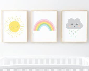 Sun Rainbow Cloud set of 3 nursery kids room prints - digital art prints - wall art printable set of 3 art prints 8x10 and 5x7 digital art