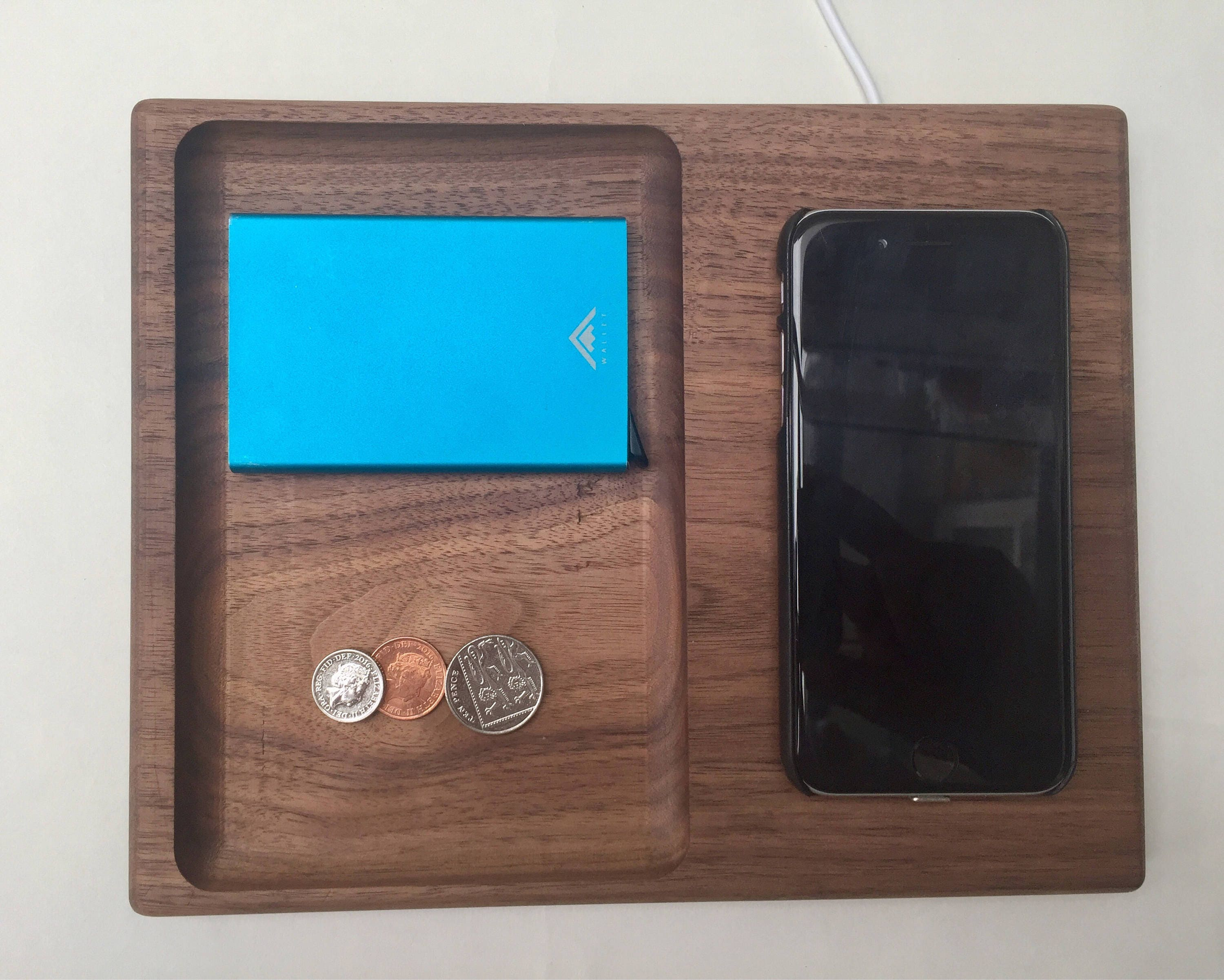 Qi Wireless Phone Charging Station Valet Tray Solid Walnut