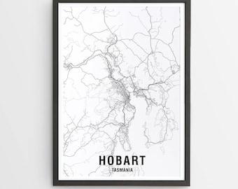 Hobart Map Print - Black & White / Map / Australia / City Print / Australian Maps / Giclee Print / Poster