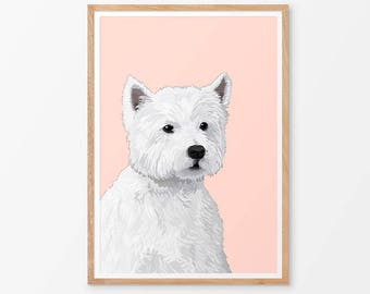 West Highland Terrier Art Print  / Westie / Dog Gift / Pet Wall Art / Various Colours /  Dog Lover's Gift / Westie Portrait /  Pet Gifts