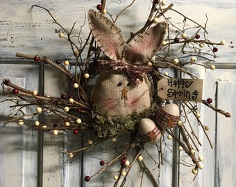 """16"""" Primitive Country Easter bunny twiggy wreath"""