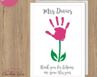Thank You Teacher Card - Personalised Design - Thank You Card - School Teacher - Printable Card - Digital Download File - Flower Design