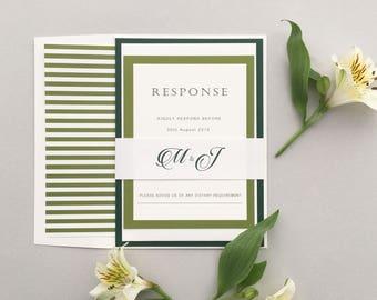 Forest Green Wedding Invitation Sample Set, Green Monogram Wedding Invitation Sample, Elegant Edge Forest Green Sample Invites