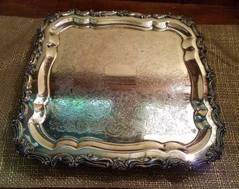 "Vintage Silverplate Rare Sheridan 13"" Square Footed Tray"