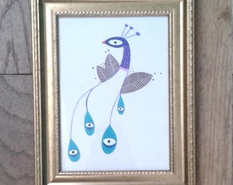 Peacock painting original gouache illustration drawing watercolor simple poetic eye chimera bird blue exotic 13 cm x 18 cm