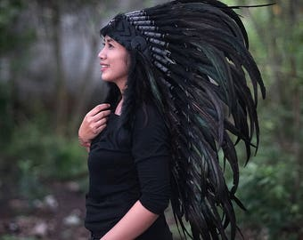 ON SALE ,Indian Headdress, Black Feather Headdress, Native American Warbonnet, Rooster Warbonnet, Chief Warbonnet, Indian Headdress