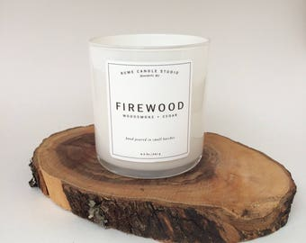 Firewood Signature Scented Soy Wax Blend Candle with 100% Cotton Wick