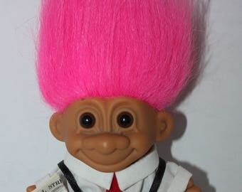 Vintage RUSS TROLL Stock Broker Wall Street pink hair 5 inches 1990's
