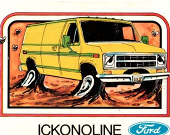 1976 Wonderbread Crazy Cars Furd Ickonoline Ford Econoline Van Trading Card
