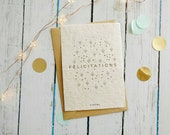 Planting congratulations card wishes congratulations, Scandinavian map, floral illustration, wild flowers