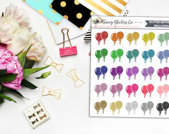 Glitter Birthday Balloons | for use with Erin Condren Lifeplanner™, Happy Planner
