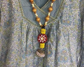Handmade Bohemian hippie necklace wood beads