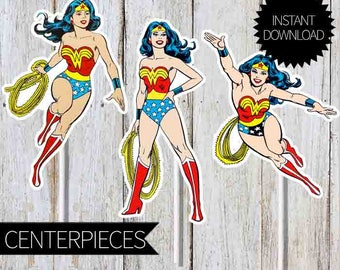 Wonder Woman Birthday Party PRINTABLE Character Centerpieces- Instant Download | DC comics | Retro Wonder Woman | Cake Topper