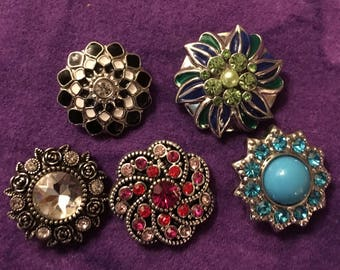 Colllection of Five Various Colors of 18mm Interchangeable Snaps Sale Priced!