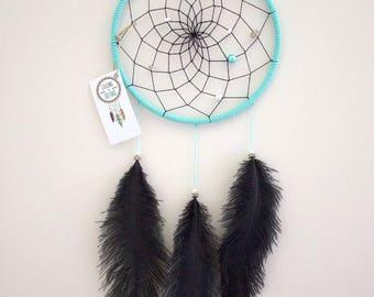 """7"""" Black Ostrich & Teal Dream Catcher"""