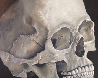 oil painting 'skull' on canvas, jodiestudio