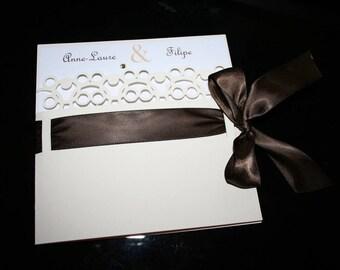 Wedding invitation Chic wedding ivory and Brown rhinestones