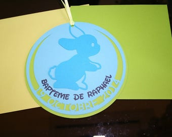 Announcements baptism, birth, rabbits, green Turquoise