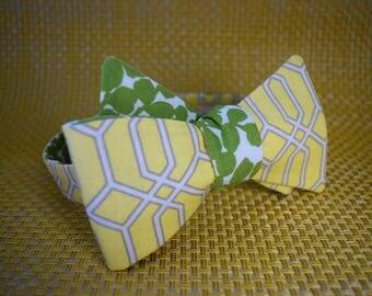 Grey Lattice on Yellow/Leafy Green Bow Tie