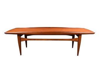 Vintage Mid Century Modern Surf Coffee Table in Teak in the Manner of Grete Jalk