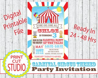 Carnival Circus Themed Party Invitation Personalized Printable Digital File - Red - Turquoise - Under The Big Tent - Come One Come All