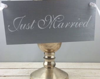 Just married Wedding Sign-Silver Just Married Sign-Rustic Chic Wedding Sign-12'' x 5.5'' Sign-Silver And White Wedding