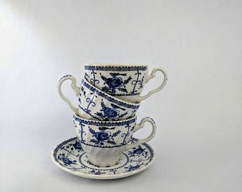 Vintage Tea Cup and Saucer Blue and White Floral Johnson Brother's Indies
