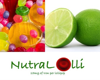 NutraLolli - 10 Lime Margarita flavor Pops - Each With 15mg of Elemental Iron For All Ages!