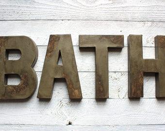 Bath Sign   Bathroom Sign   Rustic Bathroom Decor   Navy Bathroom   Rustic  Bathroom Wall