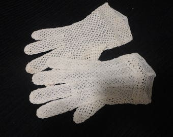 France Hand Crocheted Lace Gloves Size M