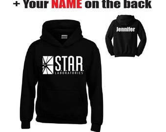 STAR LABORATORIES / S.T.A.R Labs / Star Labs Hoodie + Your NAME on the back