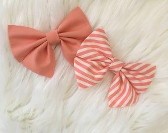 Coral & Stripe Sailor Bows | Sailor Bow Sets | Pigtail Bows | Bow Sets | Bow Bundles | Nylon Headbands | Hair Clips | Bows | Baby Bows
