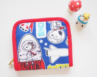 Snoopy Small zipper around fabric wallet