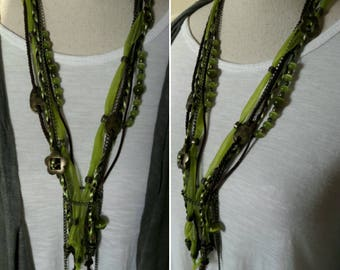 Boho layered long necklace, Chunky Olive green cats eye beaded copper color chain
