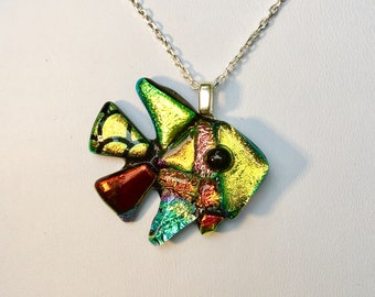 Fused dichroic glass, Fish Pendant with black silicone cord or sterling silver necklace