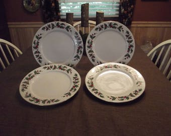 China Pearl *-* NOEL *-*, Dinner Plate, Set of 4; Black Backstamp