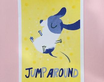 Jump Around A4 risograph