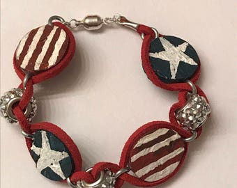 Stars and Stripes Cork Bracelet