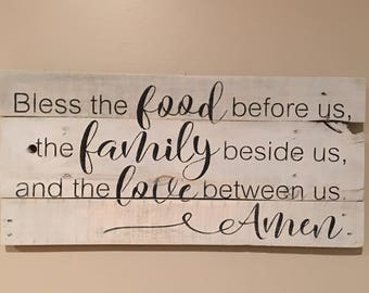 Rustic sign 'Bless the food before us the family beside us and the love between us amen sign, wood signs, rustic decor, prayer sign, kitchen