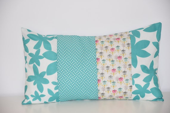 Housse de coussin 50 x 30 cm patchwork tissus motifs - Housse de coussin patchwork ...
