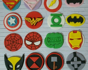 Edible Super Hero Cupcake Toppers x6, choose from, Marvel Captain America, Thor, Ironman, Hulk, Hawkeye, Spiderman or DC Superman, Flash etc