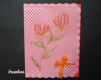 "Card paper lace Pergamano ""Honeysuckle"""
