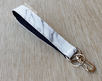 white marble key fob, key chain wristlet, key holder, key fob, key fob wristlet, key holder for special person, keychain.