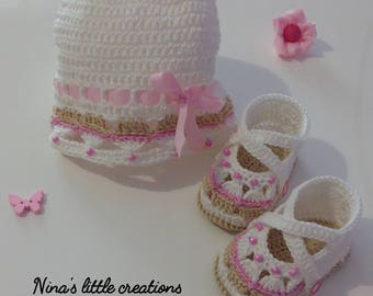 Set Baby cap + knitted Shoes