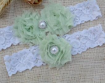 Garter Pale Green, Wedding Garters, Wedding Garter Belt, White Lime Green, Vintage Inspired, Bridal, Lace Garter White, Wedding Garter Set