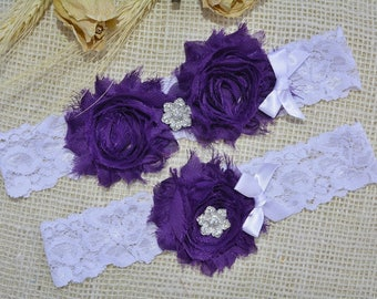 Wedding Garter, Purple Garter Set, Lace Garter White, Bridal Garter, Purple Lingerie, Keepsake Garter, Toss Garter Purple, Garter For Bride