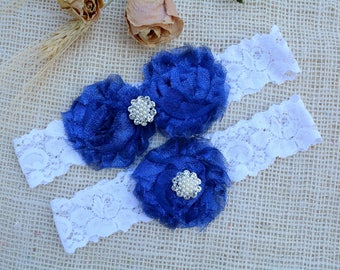 Garter Royal Blue, Glitter Garter Set, Blue Bridal Set, Somethig Blue, Garter For Wedding, Garter For Brides, BlueGarter, Royal Blue Garter