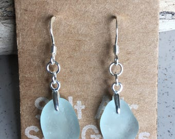 Pale blue sea glass and sterling silver dangly earrings, gifts for her, birthday present