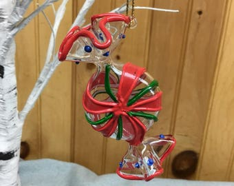 Glass Peppermint Candy Christmas Ornament